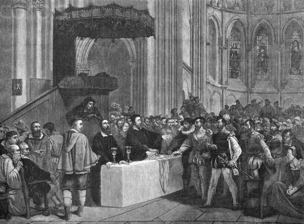 Congregation Inside Cathedral with John Calvin
